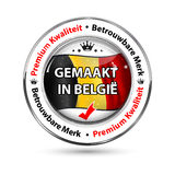 Fatto nel Belgio, qualità premio, lingua di fiducia dell'olandese di marca Immagini Stock