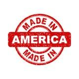 Fatto nel bollo rosso dell'America Fotografia Stock