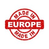 Fatto nel bollo rosso di Europa illustrazione di vettore su backgroun bianco Fotografia Stock