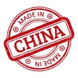 Fatto nel grafico di rosso della Cina Timbro di gomma rotondo Fotografie Stock