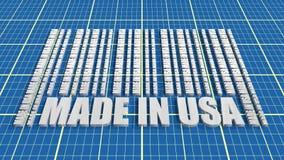 Fatto nel testo di U.S.A. e nel codice a barre dalle stesse parole Immagine Stock Libera da Diritti
