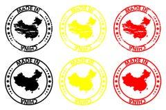 Fatto nel timbro di gomma della Cina Immagine Stock Libera da Diritti