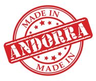 Fatto nel timbro di gomma di rosso dell'Andorra Immagini Stock