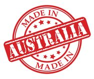 Fatto nel timbro di gomma di rosso dell'Australia Fotografia Stock