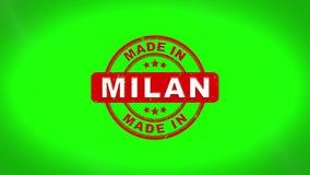 Fatto nell'animazione del bollo di MILAN Signed Stamping Text Wooden illustrazione vettoriale