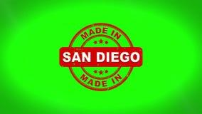 Fatto nell'animazione del bollo di SAN DIEGO Signed Stamping Text Wooden illustrazione di stock