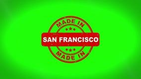 Fatto nell'animazione del bollo di SAN FRANCISCO Signed Stamping Text Wooden illustrazione vettoriale