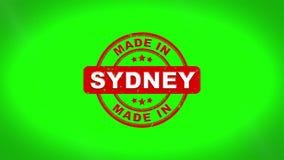Fatto nell'animazione del bollo di SYDNEY Signed Stamping Text Wooden illustrazione vettoriale