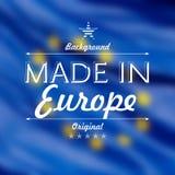 Fatto nell'illustrazione della carta di Europa ha offuscato il fondo della bandiera Fotografie Stock