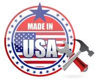 Fatto nell'illustrazione della guarnizione del bottone degli strumenti degli S.U.A. Immagine Stock