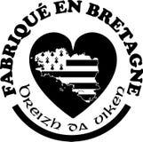 Fatto nelle etichette del ` di Bretagna vector i modelli con firma dentro le lingue francesi e bretoni Immagini Stock Libere da Diritti