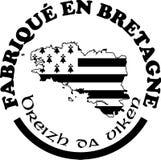 Fatto nelle etichette del ` di Bretagna vector i modelli con firma dentro le lingue francesi e bretoni Fotografia Stock