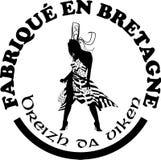 Fatto nelle etichette del ` di Bretagna vector i modelli con firma dentro le lingue francesi e bretoni Immagini Stock