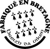 Fatto nelle etichette del ` di Bretagna vector i modelli con firma dentro le lingue francesi e bretoni Fotografia Stock Libera da Diritti