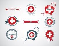 Fatto in Svizzera - insieme delle guarnizioni, distintivi Fotografia Stock