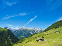 Fattorie e paesaggio alpino Fotografia Stock
