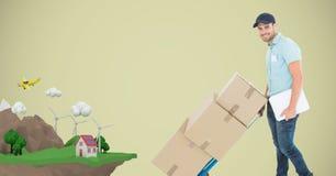 Fattorino che spinge le scatole sul carretto con la casa sulla montagna Fotografie Stock