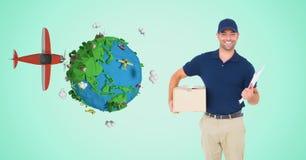Fattorino con il pacchetto in poli terra ed aereo bassi Fotografia Stock