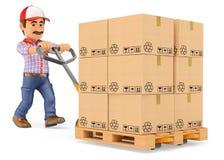 fattorino del corriere 3D che spinge un camion di pallet con le scatole Fotografia Stock Libera da Diritti