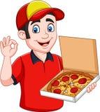 Fattorino della pizza che tiene pizza calda saporita e che mostra segno giusto illustrazione di stock