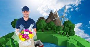 Fattorino sorridente che mostra pacchetto contro gli alberi ed il mulino a vento Immagini Stock