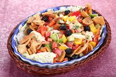 Fattoush, Arabian Salad, colorful Tossed salad stock image