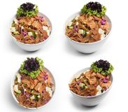 Fattoush Salad , Set of Lebanese salad, Fattouch, isolated on white background, Clipping Path Included stock photography