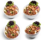 Fattoush-Salat, Satz libanesischer Salat, Fattouch, lokalisiert auf weißem Hintergrund, Beschneidungspfad eingeschlossen stockfotografie
