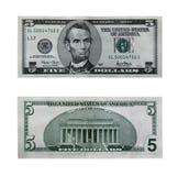 Fattura del dollaro cinque con il percorso Immagine Stock