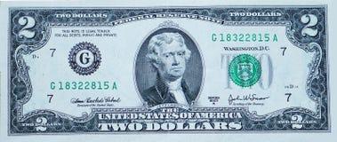 Fattura del dollaro due Fotografie Stock Libere da Diritti