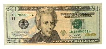 Fattura del dollaro venti Fotografia Stock