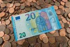 Fattura dell'euro 20 Fotografia Stock