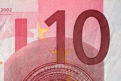 Fattura dell'euro dieci Fotografia Stock
