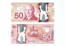 Fattura di dollaro canadese 50 Fotografia Stock