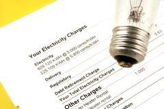 Fattura di elettricità immagini stock