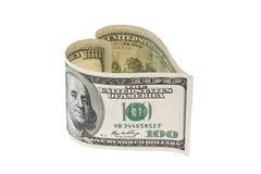 Fattura di valuta del dollaro nella figura del cuore Fotografia Stock Libera da Diritti
