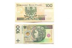 Fattura di zloty 100 Fotografie Stock Libere da Diritti