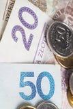 fattura di zloty 50 e 20 Fotografia Stock