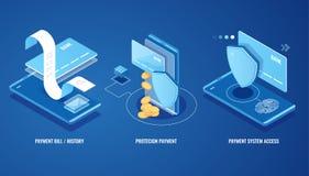 Fattura elettronica, notifica online degli sms di pagamento, storia di paga, protezione dei dati di finanza, smartphone con la ca illustrazione di stock