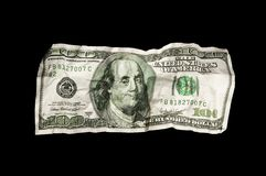 Fattura schiacciata del dollaro 100 Immagine Stock Libera da Diritti
