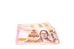 Fattura tailandese alta chiusa cento baht Immagine Stock