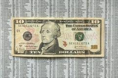 Fattura triste del dollaro dieci. Immagine Stock