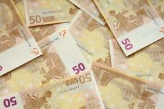 50 fatture degli euro Fotografia Stock
