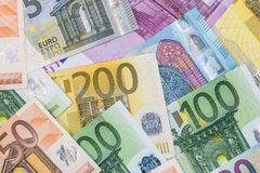 Fatture degli euro come fondo Immagine Stock Libera da Diritti