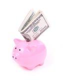 Fatture del dollaro dei soldi e banca piggy Fotografia Stock Libera da Diritti