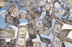 Fatture del dollaro di volo Fotografie Stock
