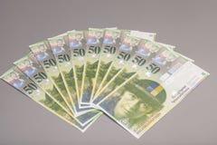 50 fatture del franco svizzero Fotografie Stock