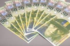 50 fatture del franco svizzero isolate Fotografia Stock Libera da Diritti