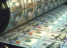 Fatture di dollaro americano di stampa Fotografie Stock Libere da Diritti