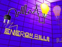 Fatture di energia che mostrano l'illustrazione di Electric Power 3d Fotografia Stock Libera da Diritti